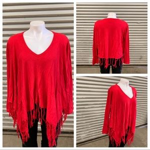 One7Six red poncho with sleeves and fringe